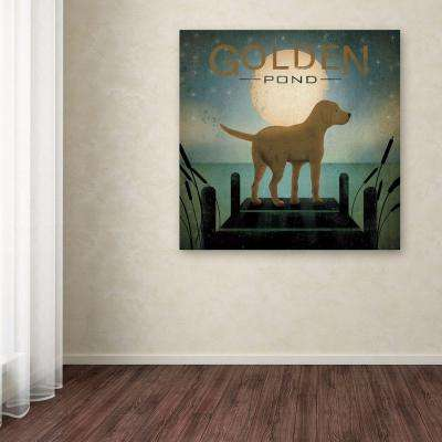 """35 in. x 35 in. """"Moonrise Yellow Dog Golden Pond"""" by Ryan Fowler Printed Canvas Wall Art"""
