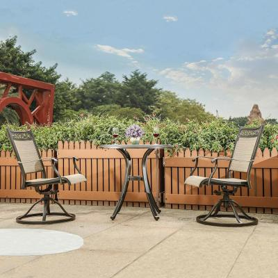 Brown 3-Piece Aluminum Round 28.6 in. H Porcelain Tabletop Table Outdoor Bistro Set