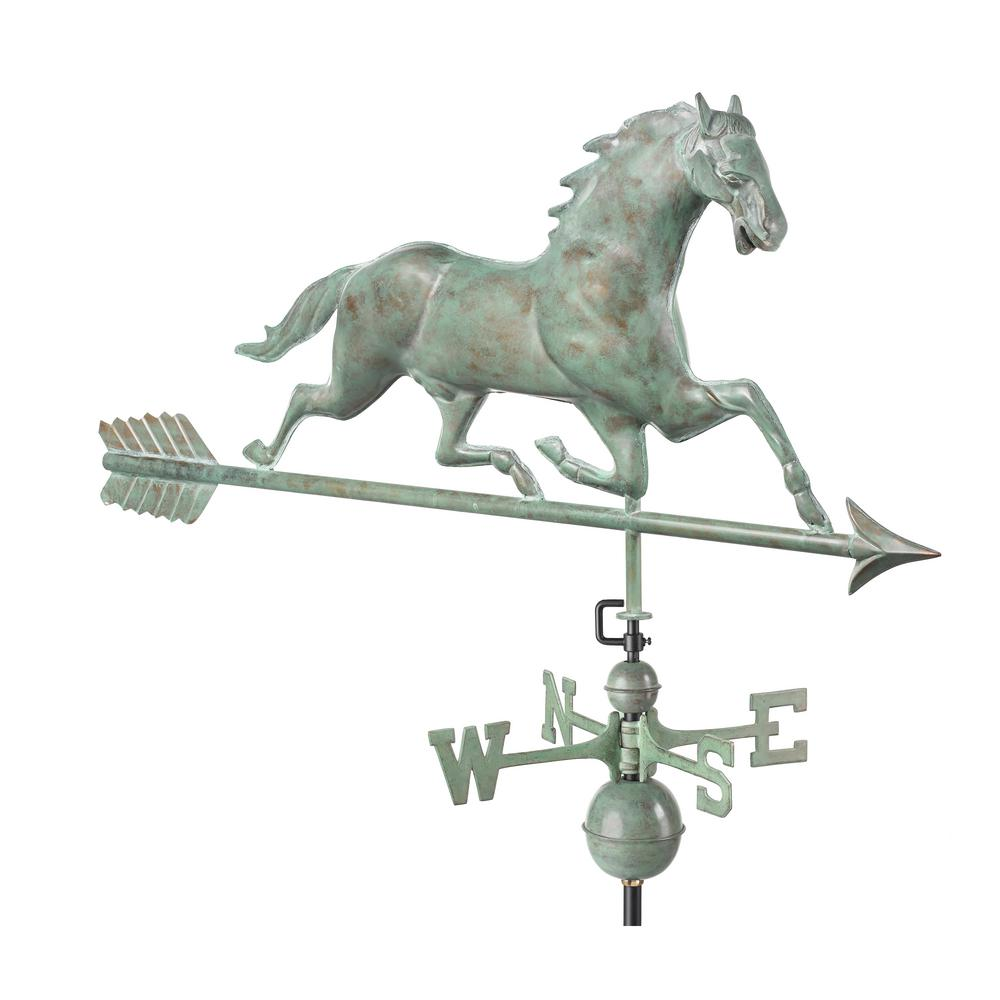 Horse Weathervane with Arrow - Blue Verde Copper