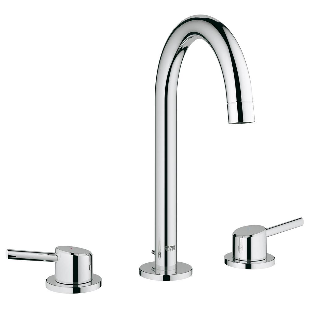 Grohe concetto 8 in widespread 2 handle high arc bathroom for 8 widespread bathroom faucet chrome
