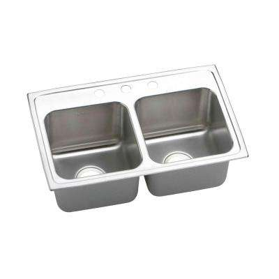 Lustertone Drop-In Stainless Steel 29 in. 3-Hole Double Bowl Kitchen Sink with 10 in. Bowls