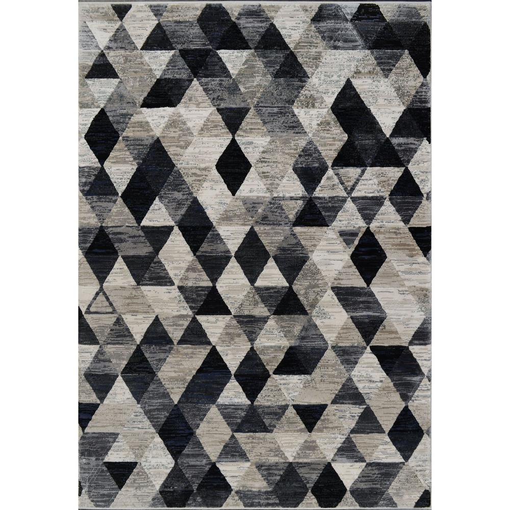 Home Dynamix Bazaar Stitch Beige/Black/Blue 7 ft. 10 in. x 10 ft. 2 in. Indoor Area Rug