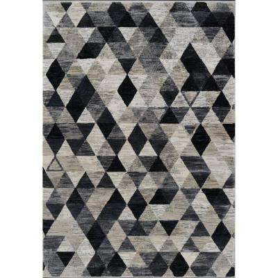 Bazaar Stitch Beige/Black/Blue 7 ft. 10 in. x 10 ft. 2 in. Indoor Area Rug