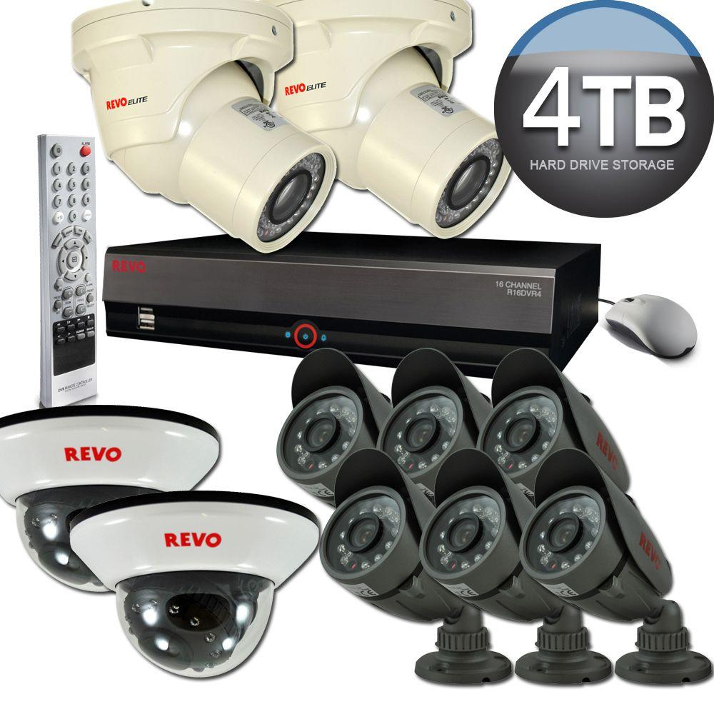 Revo Elite 16 Channel 4TB Hard Drive Surveillance System with (8) Quick Connect Cameras and (2) Elite Cameras