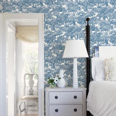 Chesapeake 8 in. x 10 in. Spinney Blue Toile Wallpaper Sample 3115 ...