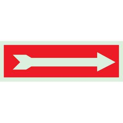 5 in. x 14 in. Glow-In-The-Dark Self-Stick Polyester Right-Pointing Arrow Directional Sign