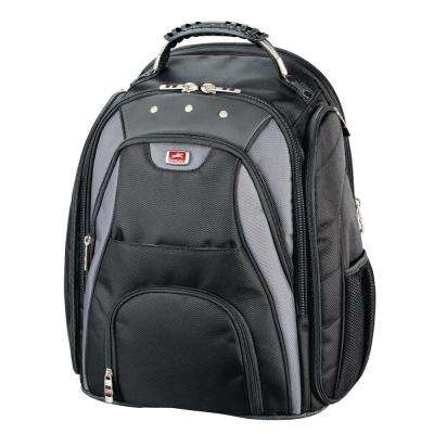 Black Leather Backpack for 17 in. Laptop Computer