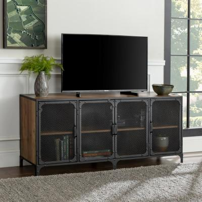 60 in. Rustic Oak Composite TV Stand 69 in. with Doors
