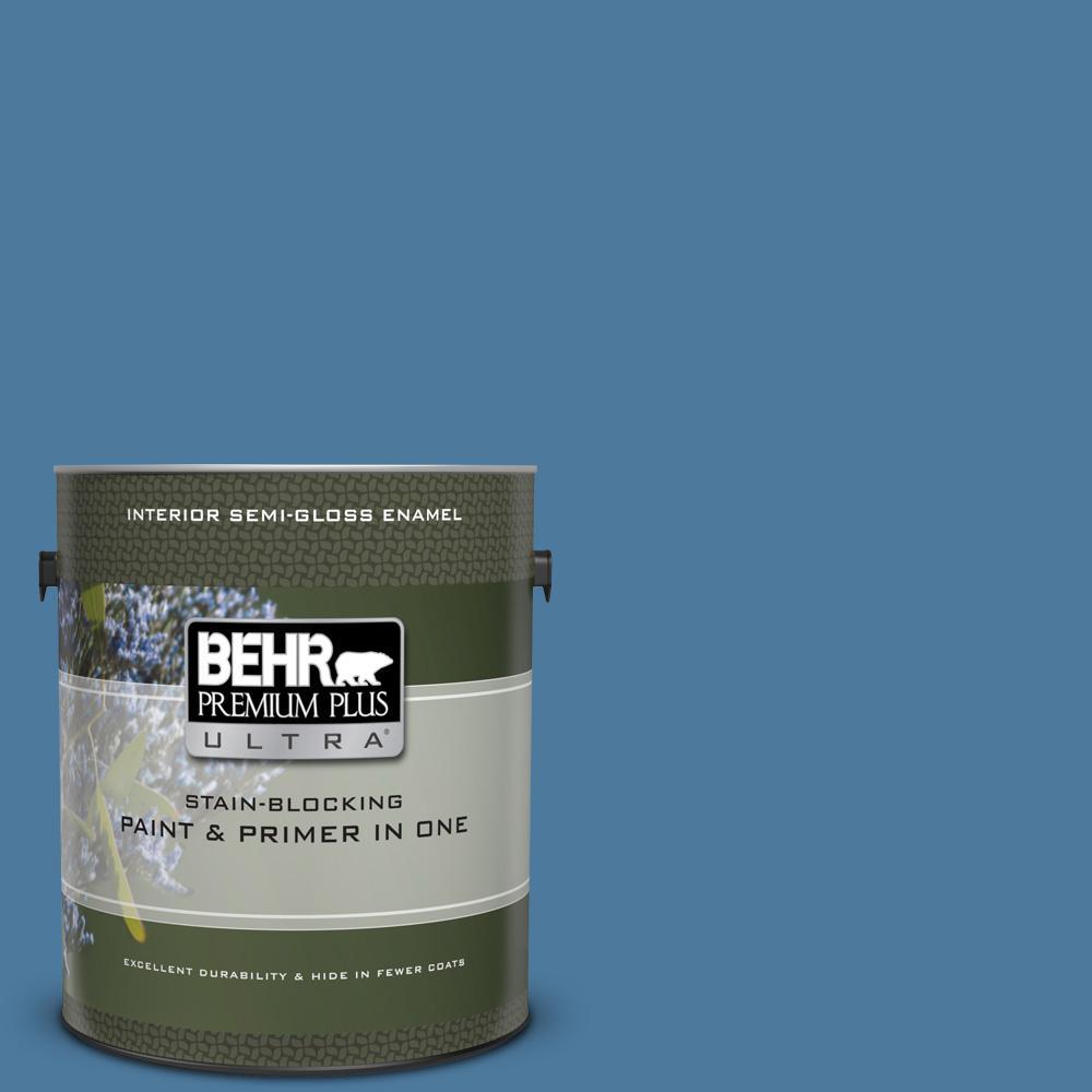 BEHR Premium Plus Ultra 1 gal  #UL230-4 Glass Sapphire Semi-Gloss Enamel  Interior Paint and Primer in One