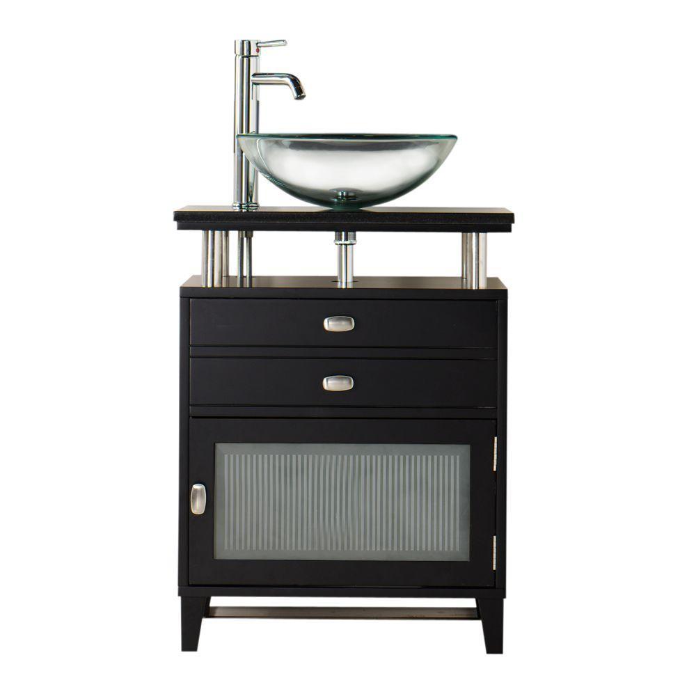 Home Decorators Collection Moderna 24 in. W x 21 in. D Bath Vanity in Black with Marble Vanity Top in Black and Glass Door