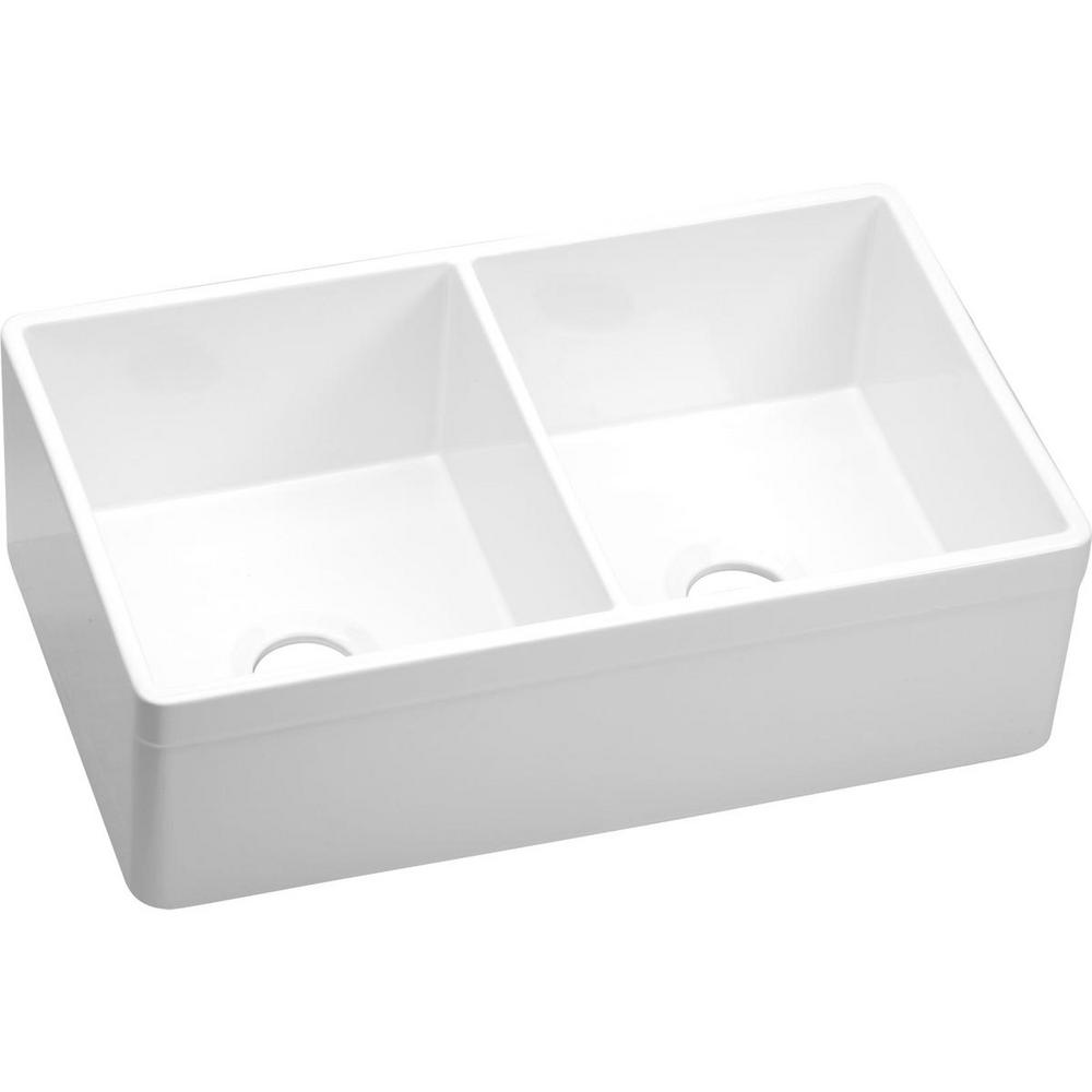 Elkay Explore Farmhouse A Front Fireclay 33 In Double Bowl Kitchen Sink White