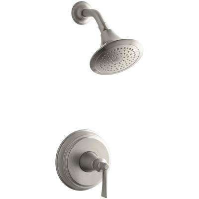 Archer 1-Spray 6.5 in. 2.0 GPM Fixed Shower Head with Lever Handle in Brushed Nickel