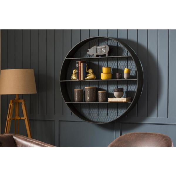 Creative Co Op Collected Notions 6 In X 41 In X 41 In Gray Round Metal Wall Decor With 4 Shelves Da6674 The Home Depot