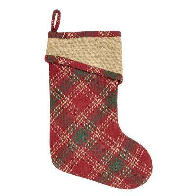 15 in. Cotton Whitton Apple Red Rustic Christmas Decor Stocking