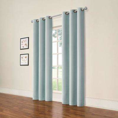 Darrell Spa Blue Blackout Window Panel - 37 in. W x 84 in. L (2-Pack)