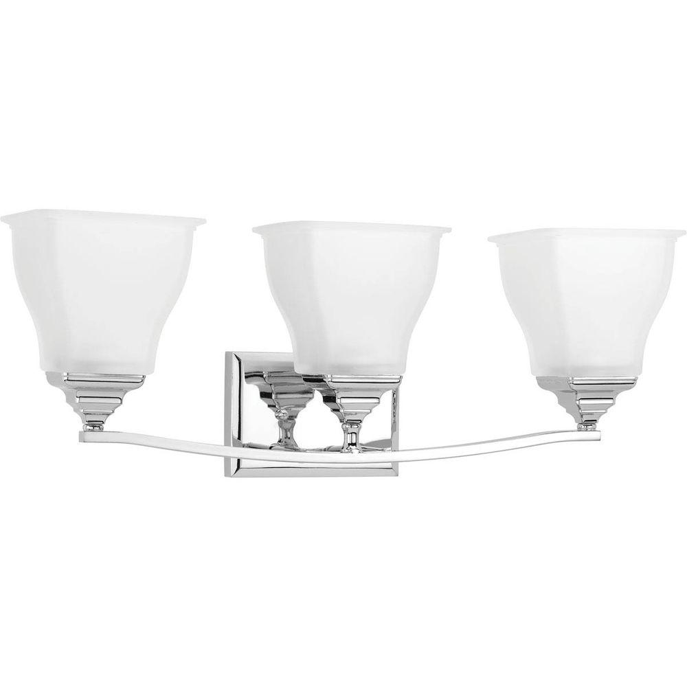 Callison Collection 3-Light Polished Chrome Vanity Light with Square Etched