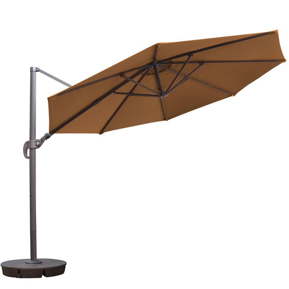 Island Umbrella Freeport 11 Ft. Octagon Cantilever Patio Umbrella In Stone  Sunbrella Acrylic