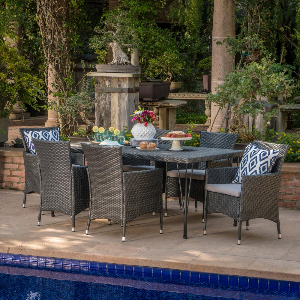 Noble House Makenna Grey 7-Piece Wicker Outdoor Dining Set