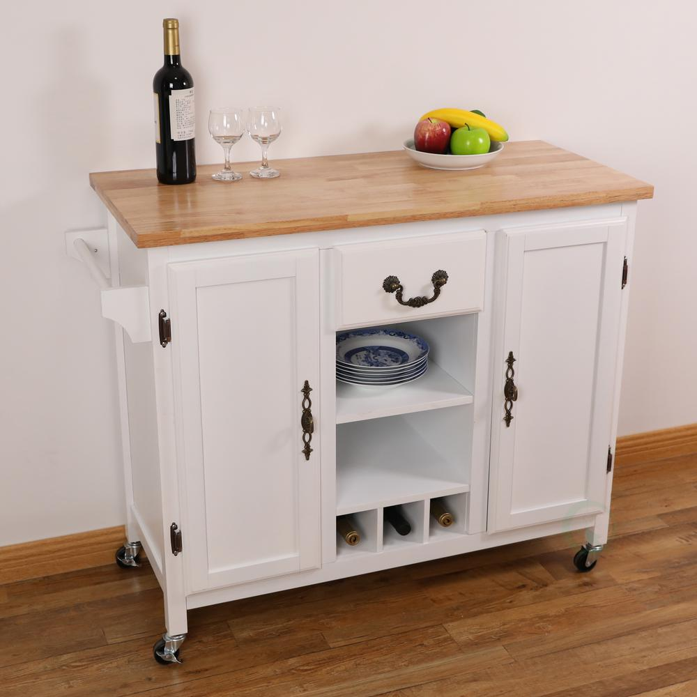 Kitchen Countertops Nz: Basicwise White Large Wooden Kitchen Island Trolley With