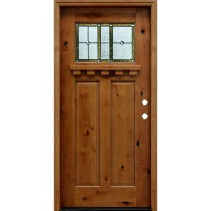 home depot solid wood door. 36 in  x 80 Craftsman Rustic 1 4 Lite Stained Knotty Alder Mahogany Type Right Hand Inswing