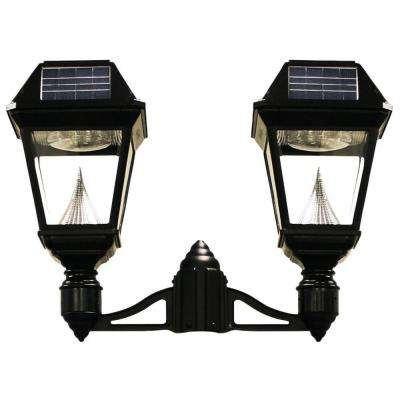 Imperial II 2-Head Solar Black Outdoor Integrated LED Post Light on 3 in. Fitter with 21 Bright White LEDs per Lamp Head