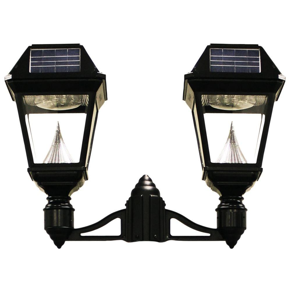 Imperial II 2-Head Solar Black Outdoor Integrated LED Post Light on