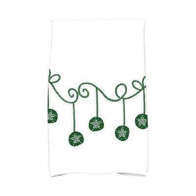 16 in. x 25 in. Green Sanddollar Ornaments Holiday Geometric Print Kitchen Towel