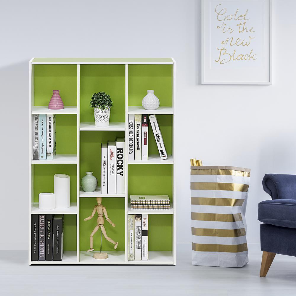 Furinno White/Green 11-Cube Reversible Open Shelf Bookcase-11107WH/GR