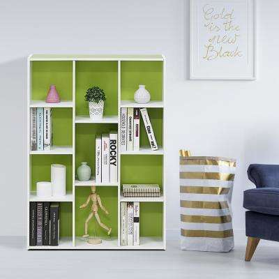 White/Green 11-Cube Reversible Open Shelf Bookcase