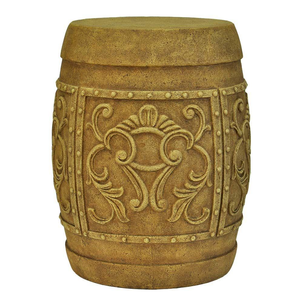 19 in. H Cast Stone Carved Garden Stool in Antique Brown