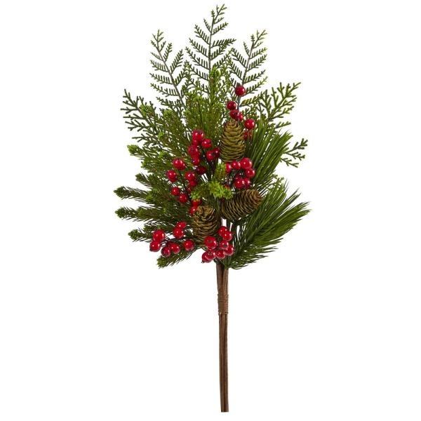 26 in. Unlit Mixed Pine, Pine Cone and Berry Artificial Plant (Set of 3)