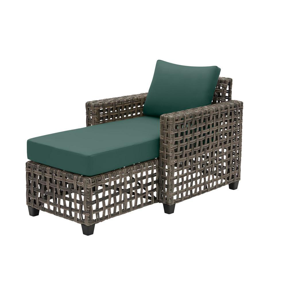 Briar Ridge Brown Wicker Outdoor Patio Chaise Lounge with CushionGuard Charleston Blue-Green Cushions