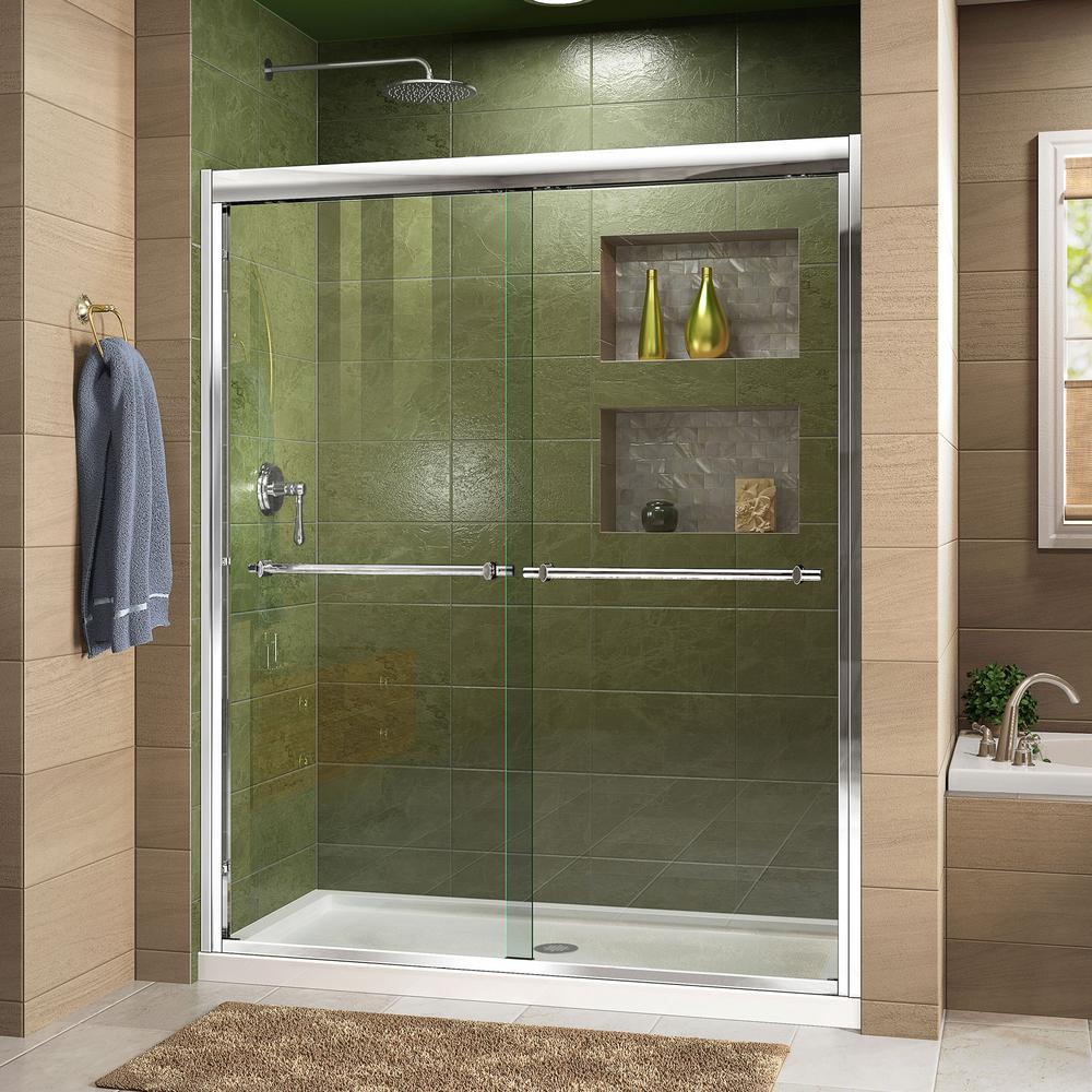 Duet 32 in. D x 60 in. W x 74.75 in. H Semi-Frameless Sliding Shower Door in Chrome with Center Drain White Base
