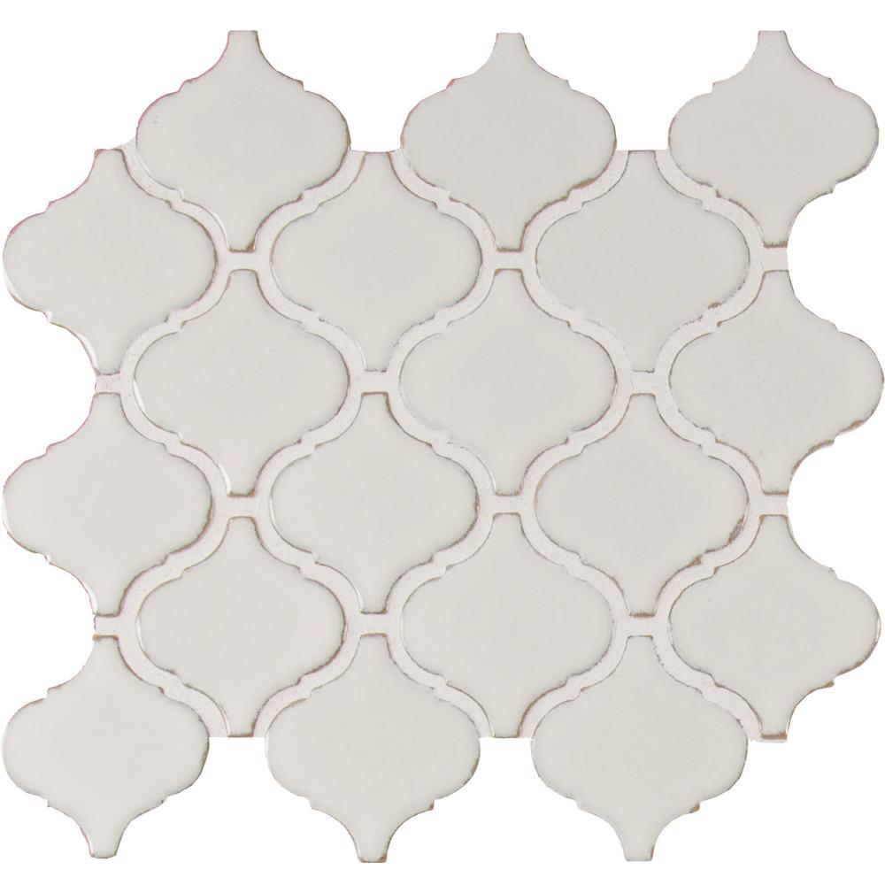 Bianco Arabesque 9.84 in. x 10.63 in. x 6mm Glazed Ceramic Mesh-Mounted Mosaic Tile (10.95 sq. ft. / case)