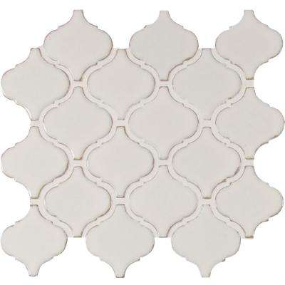 Bianco Arabesque 9.84 in. x 10.63 in. x 6 mm Glazed Ceramic Mesh-Mounted Mosaic Tile (10.95 sq. ft. / case)