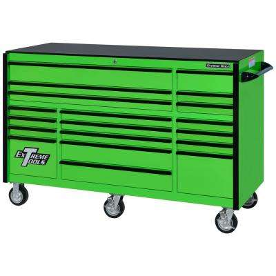 RX Series 72 in. 19 -Drawer Roller Cabinet Tool Chest in Green with Black Handles