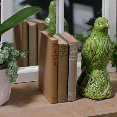 11.5 in. H Bird Decorative Figurine in Green Gloss Finish