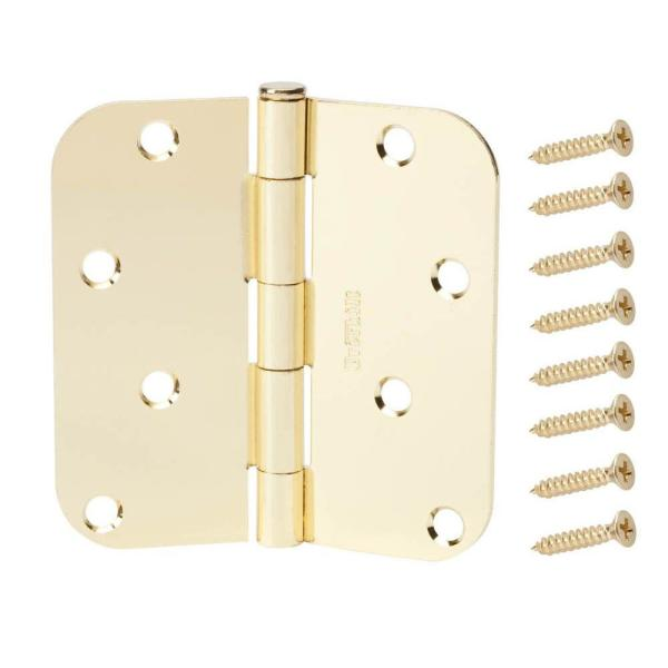 4 in. Satin Brass 5/8 in. Radius Door Hinge