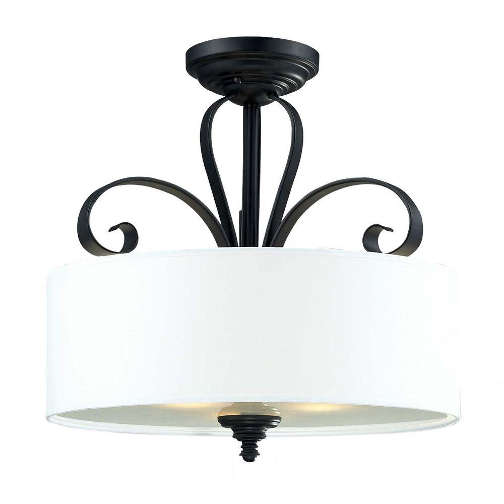 Filament Design Lawrence 3-Light Matte Black Incandescent Ceiling Flushmount