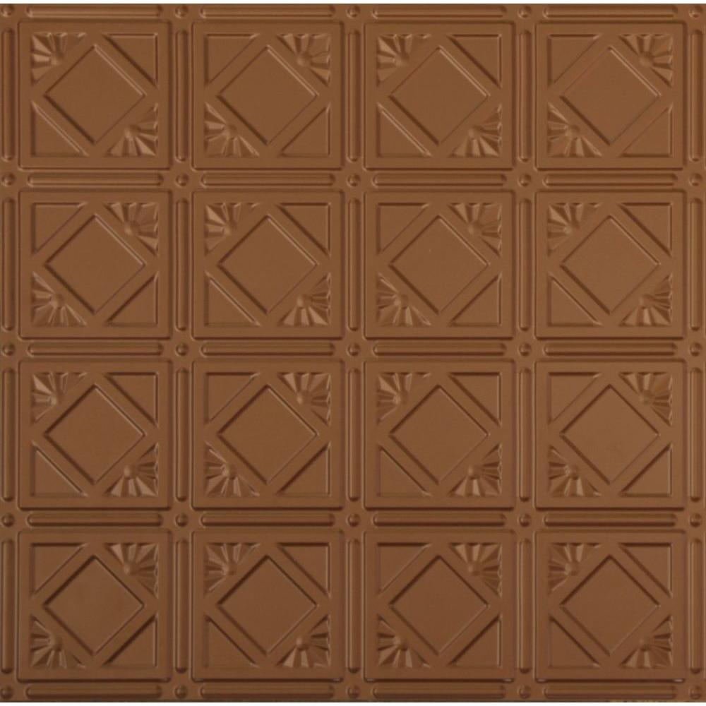 Global Specialty Products Dimensions 2 ft. x 2 ft. Aged Copper Lay-in Tin Ceiling Tile for T-Grid Systems