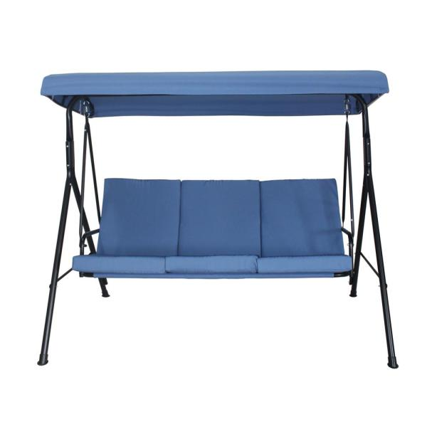 Toulon 75.5 in. 3-Person Metal Patio Swing with Blue Cushions