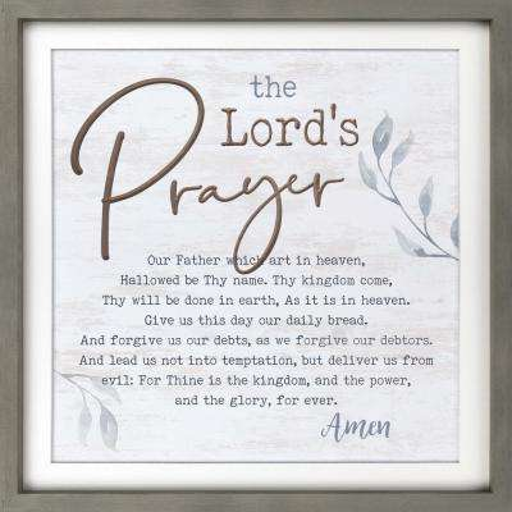 The Lord'S Prayer Grey Pine Wood Frame Wall Decor