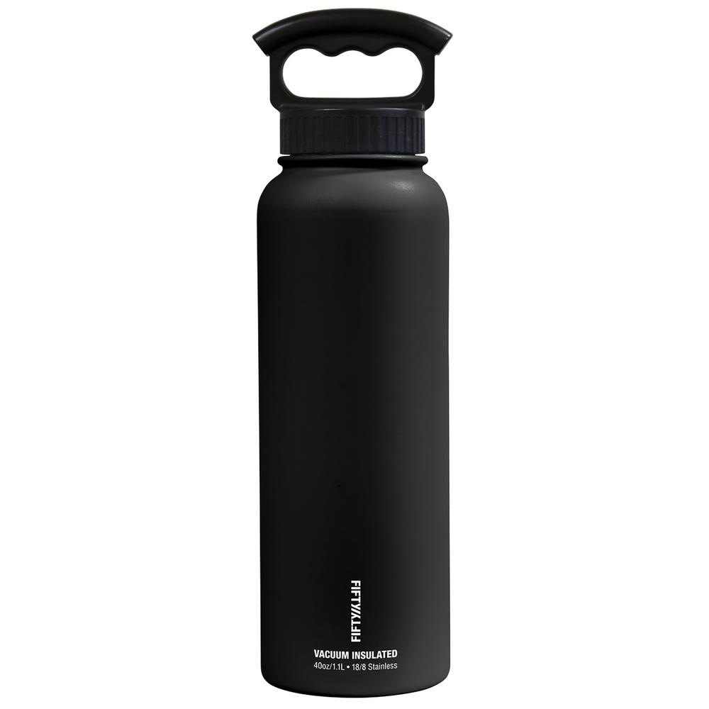 40 oz. Vacuum-Insulated Bottle with Wide-Mouth 3-Finger Handle Lid in Matte