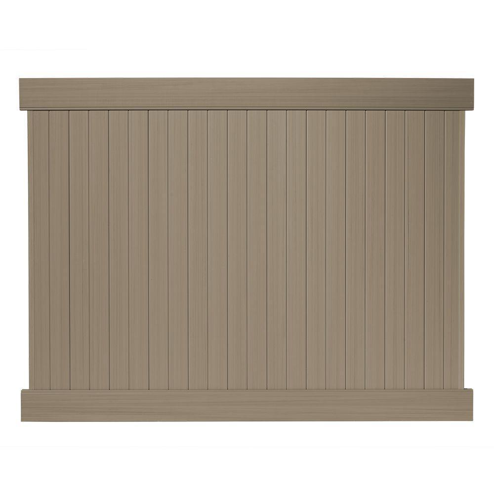 6 ft. H x 8 ft. W Cedar Grove Weathered Cedar Vinyl Privacy Fence Panel Kit