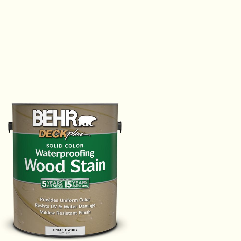 BEHR DECKplus 1 gal. #SC-337 Pinto White Solid Color Waterproofing ...