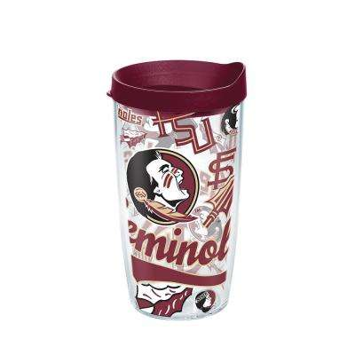 Florida State Unv All Over 16 oz. Double Walled Insulated Tumbler with Travel Lid