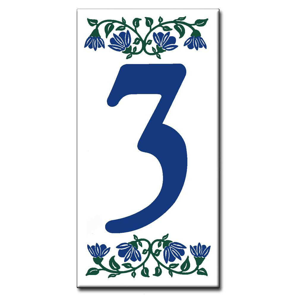 null Ceramic Tile 3 in. x 6 in. Blue Bell Number 3