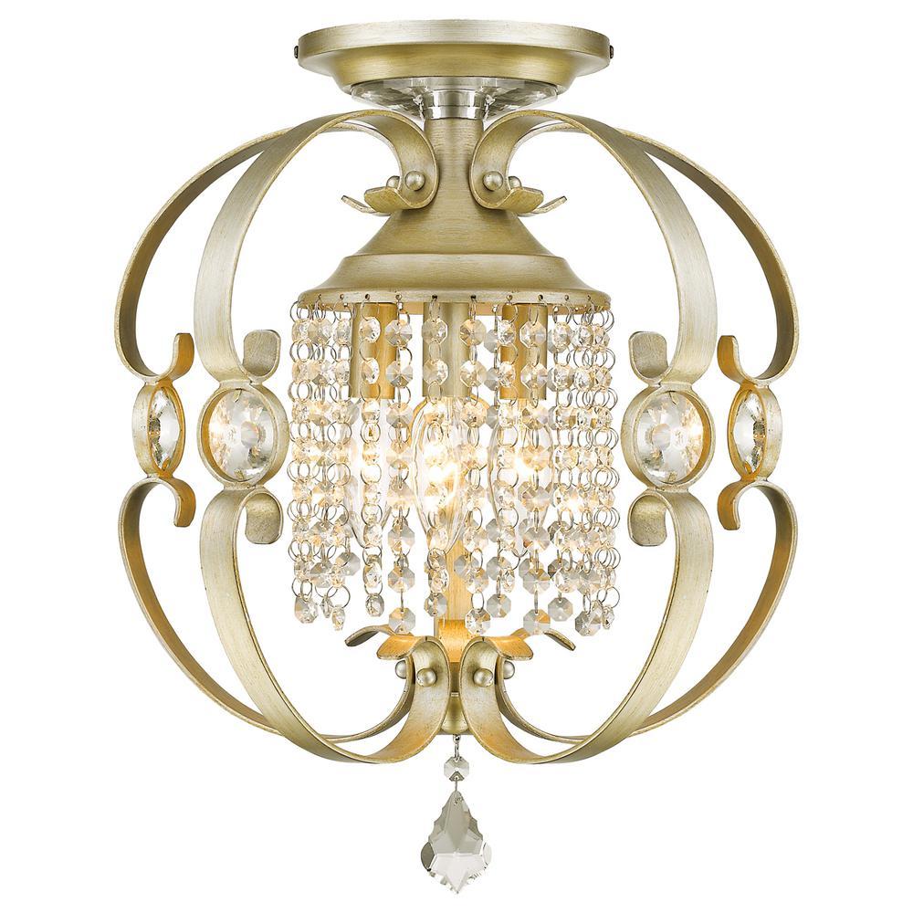 Ella 3-Light White Gold Semi-Flush Mount Light