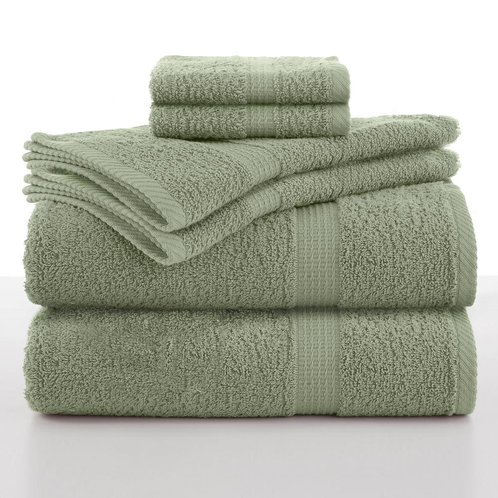 Essentials 6-Piece Basil Solid Bath Towel Set