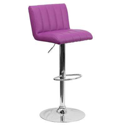 33.50 in. Adjustable Height Purple Cushioned Bar Stool